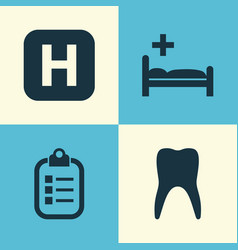 Medicine icons set collection of hospital mark vector