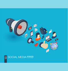 Social media integrated 3d web icons growth and vector