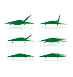 Set of funny green crocodiles for your design vector
