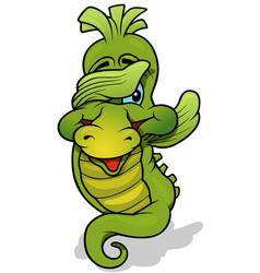 green sea horse vector image
