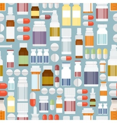 Pills and drugs in seamless pattern vector