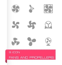 Fans and propellers icons set vector