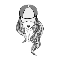 Lady in baseball cap vector