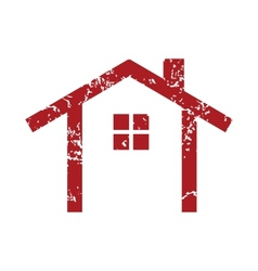 Red grunge building logo vector