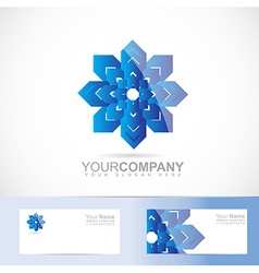 Abstract blue flower logo vector