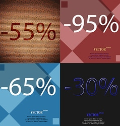 95 65 30 icon set of percent discount on abstract vector
