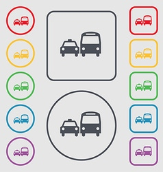 Taxi icon sign symbol on the round and square vector