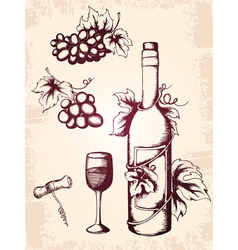 hand drawn vector vintage wine icons vector image
