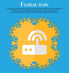 Wi fi router floral flat design on a blue abstract vector
