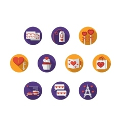 Round colorful romantic icons vector