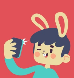 Cute bunny taking a selfie vector