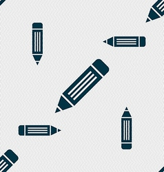 Pen icon sign seamless pattern with geometric vector