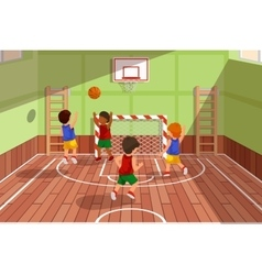 School basketball team playing game kids are vector
