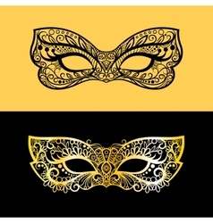 Gold lace venetian mask vector