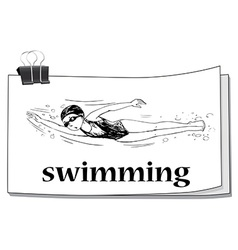 Doodle athlete swimming underwater vector