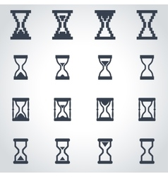 Black hourglass icon set vector