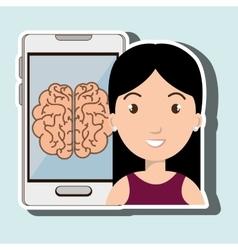 Woman smartphone idea isolated icon design vector