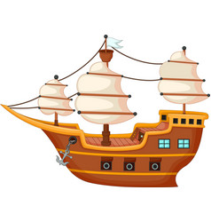 Antique yacht cartoon vector