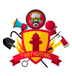 Badge with firefighting items fire protection vector