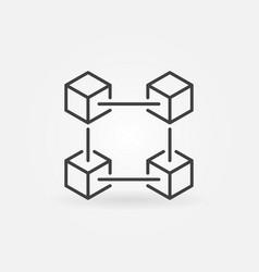 Blockchain technology outline icon vector