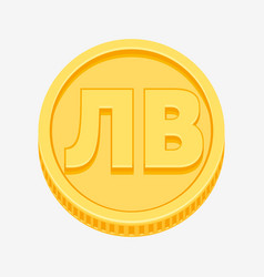 bulgarian lev symbol on gold coin vector image vector image