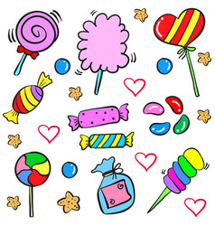 Candy sweet food design doodle style vector