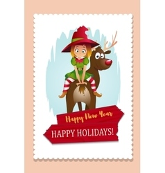 Christmas Elf Card vector image vector image