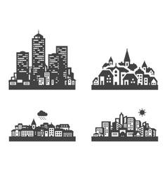 City set black icons signs and symbols vector