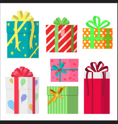 Colorful wrapped gift boxes presents flat style vector