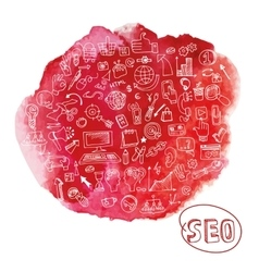 Doodle seo concept with icons in watercolor red vector