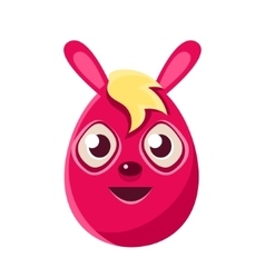 Easter egg shaped pink easter bunny with blond vector