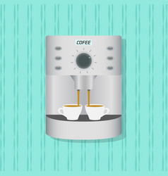 Flat coffee maker kitchenware on the wall vector
