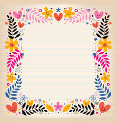 Flowers retro border vector