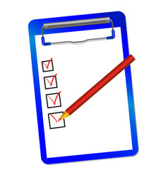 Folder with clip and red pensil vector