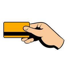 Hand holding credit card icon cartoon vector