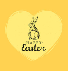 happy easter hand lettering greeting card vector image vector image