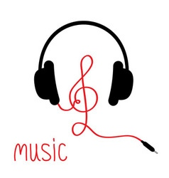Headphones with treble clef red cord and word vector image vector image