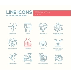 Human psychological problems- line design icons vector