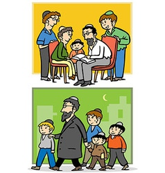 Jewish family Father and his children vector image vector image
