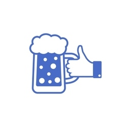 Like Thumbs Up symbol icon with beer bottle vector image