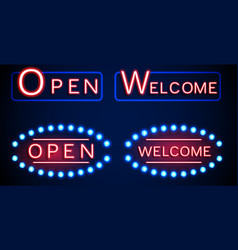 neon shining signboard with word open and welcome vector image vector image