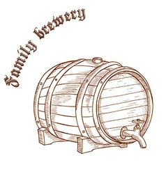 Pencil hand drawn of beer barrel with label family vector