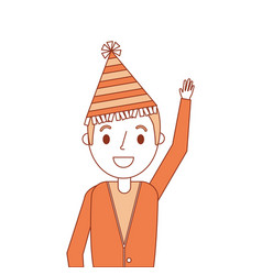 Portrait older man with party hat waving hand vector