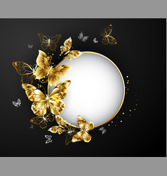 round banner with gold butterflies vector image vector image