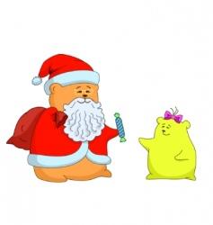 santa claus and a girl vector image
