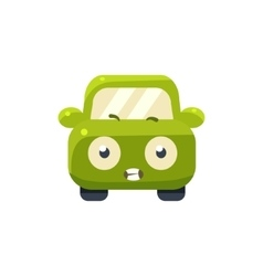Scared green car emoji vector