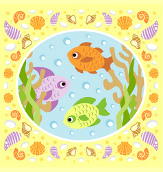 Sea background card with fish vector