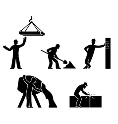 Set builders outline vector