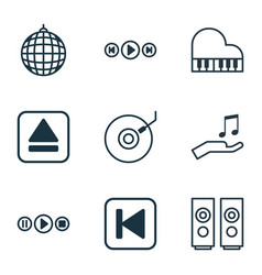 set of 9 multimedia icons includes extract device vector image