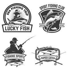 Set of the tuna fishing labels design elements vector